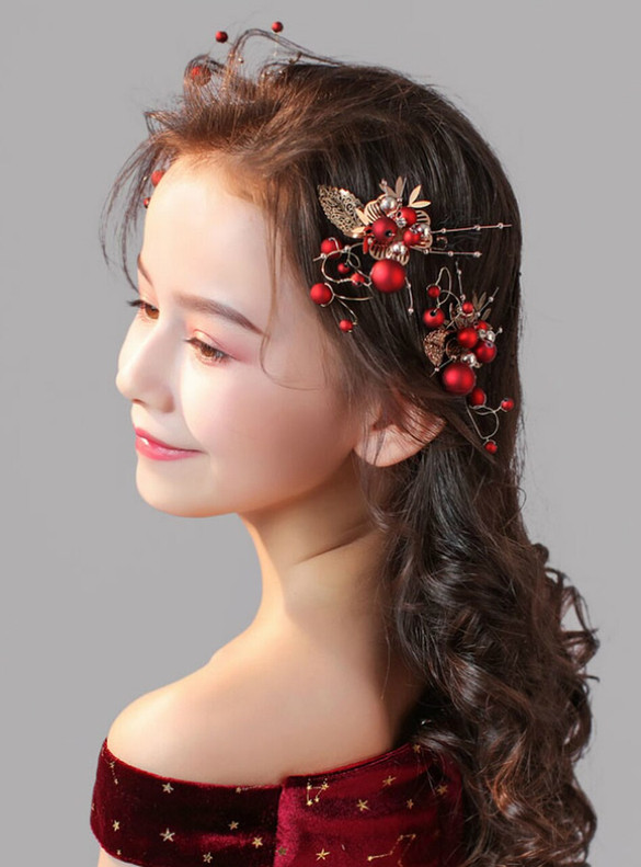 Red Girls Clip Princess Hair Accessories