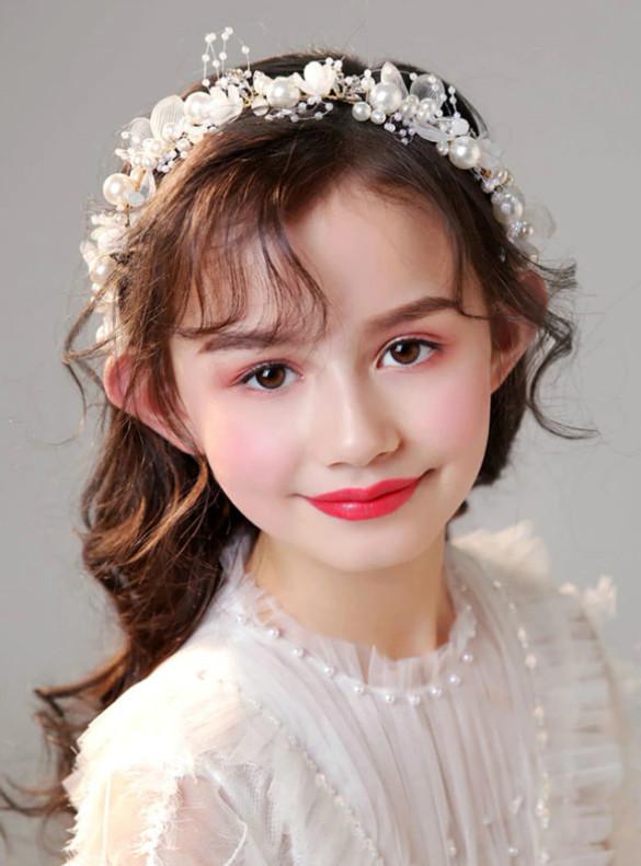 White Flower Pearls Girls Accessories