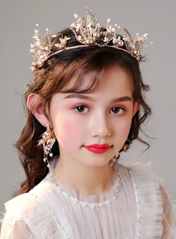 Gold Crown Headdress Pearl Flower Girl Set