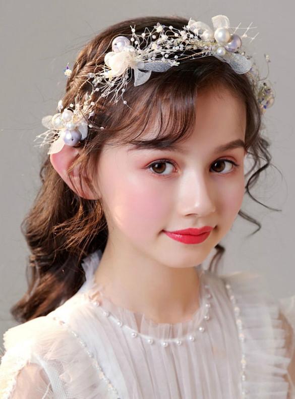 Girl Garland Flower Pearl Hair Accessories