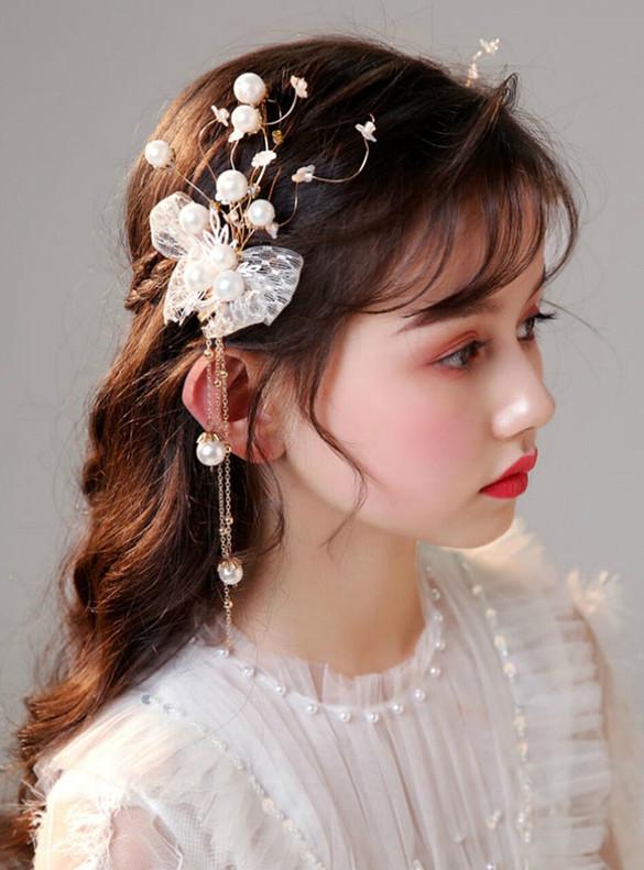 Princess Flower Pearl Hairpin Tassel
