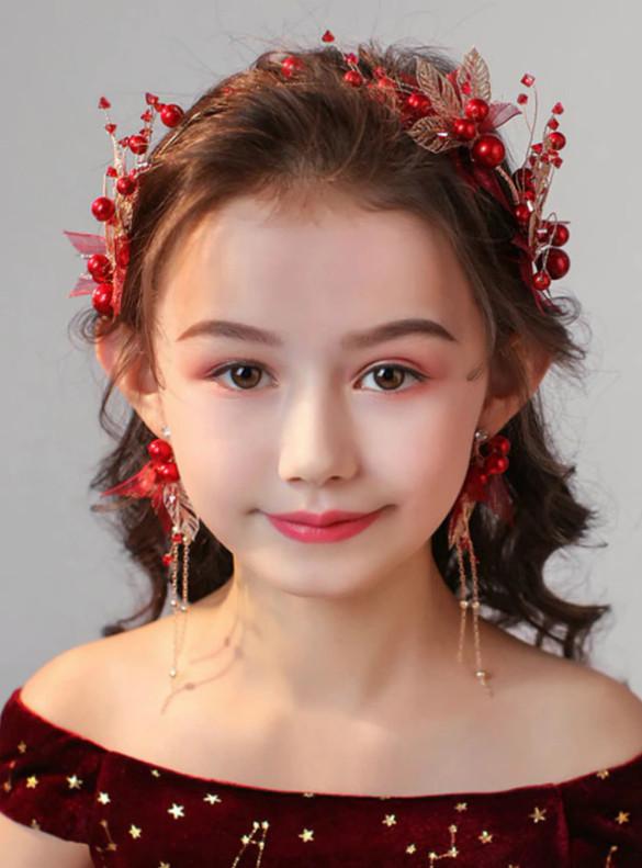Red Pearls Hair Band Flower Princess Garland