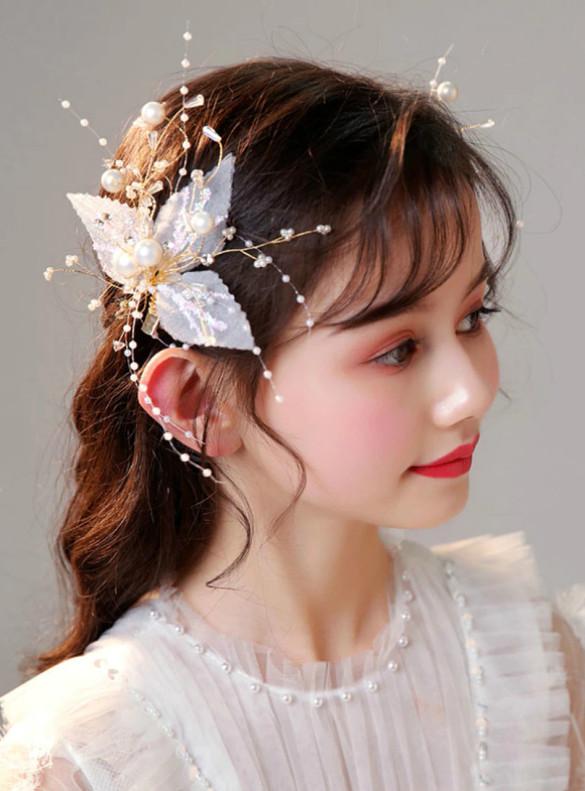 rincess Hair Accessories Pearls Hair Clips