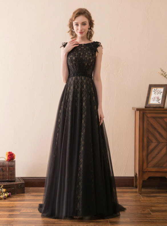 Black Tulle Lace Beading Formal Prom Dress
