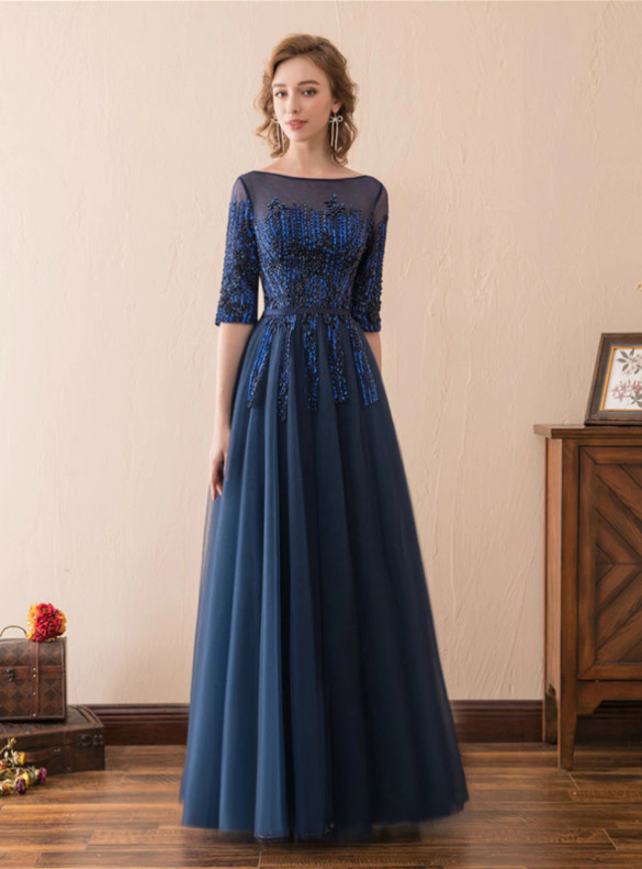 Navy Blue Tulle Short Sleeve Beading Prom Dress