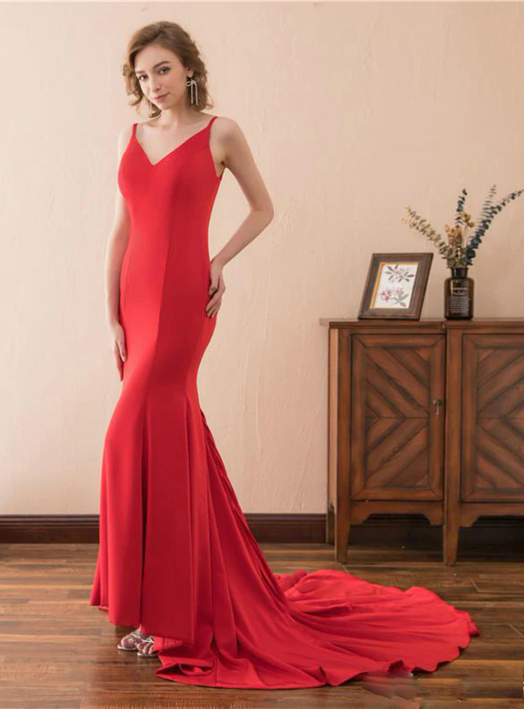 Sexy Red Mermaid Sastin Backless Prom Dress