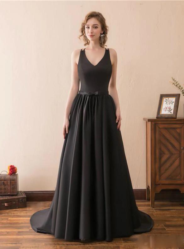 Sexy Black Deep V-neck Backless Prom Dress
