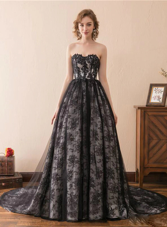 Black Lace Strapless Appliques Prom Dress