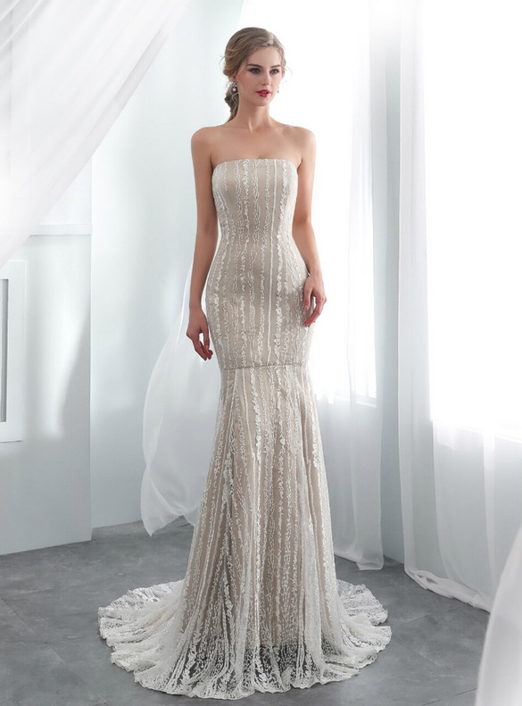 Sexy Mermaid Embroidery Strapless Prom Dress