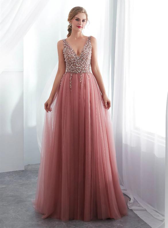 Pink Deep V-neck Beading Sequins Prom Dress