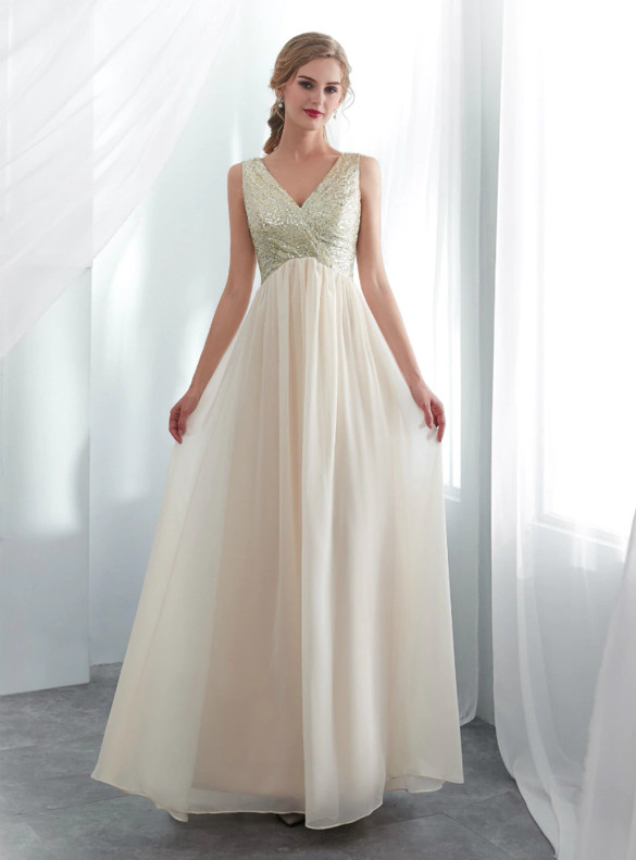 Champagne Chiffon V-neck High Waist Prom Dress