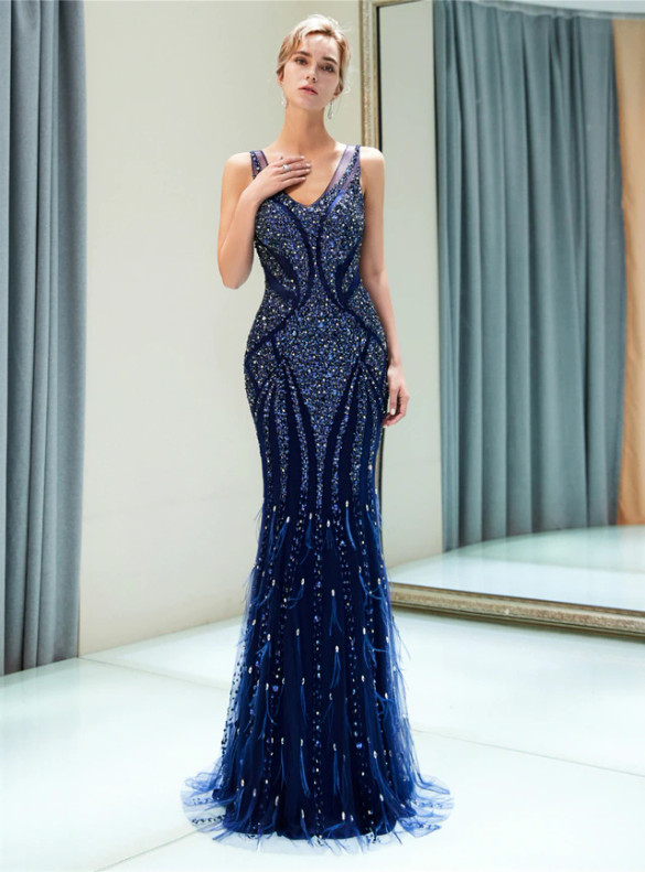 Navy Blue Mermaid Tulle Beading Sequins Prom Dress