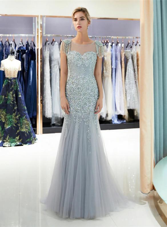 Gray Meramid Tulle Beading Cap Sleeve Prom Dress