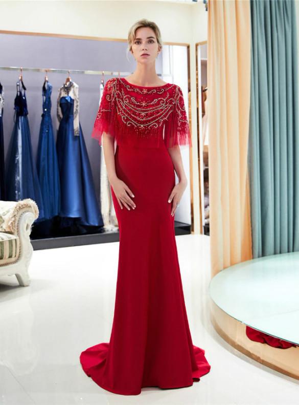 Red Mermaid Satin Scoop Neck Beading Prom Dress