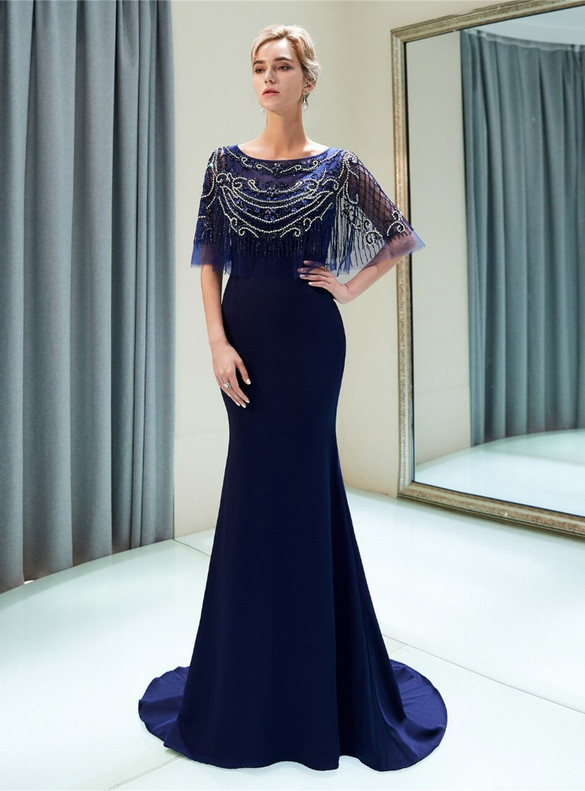 Navy Blue Mermaid Satin Scoop Neck Beading Prom Dress