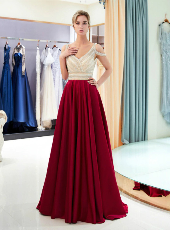 Burgundy Satin Backless V-neck Beading Prom Dress