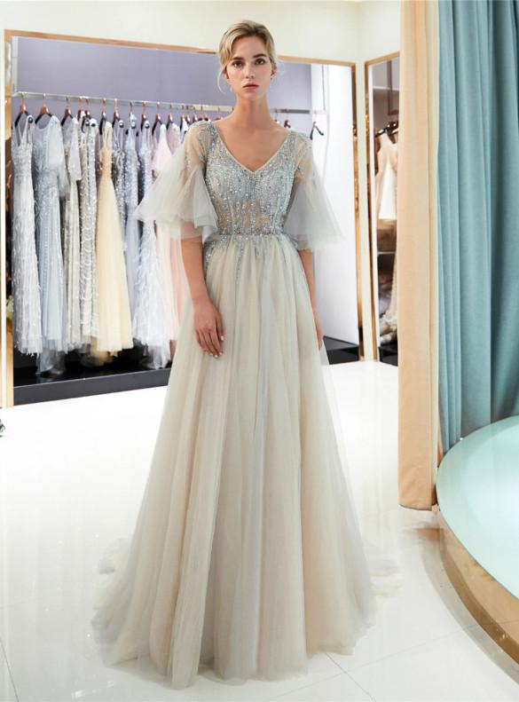 Gray Tulle V-neck Bell Sleeve Beading Prom Dress