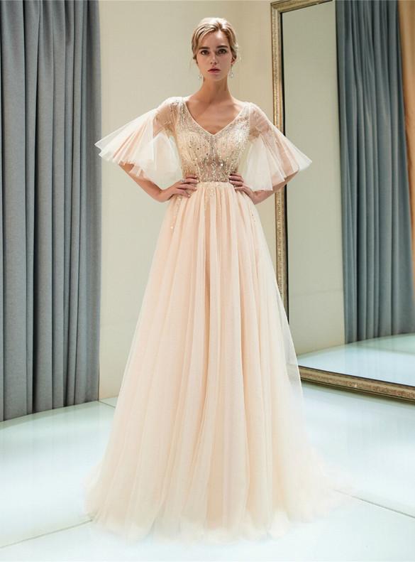 Champagne Tulle V-neck Beading Prom Dress
