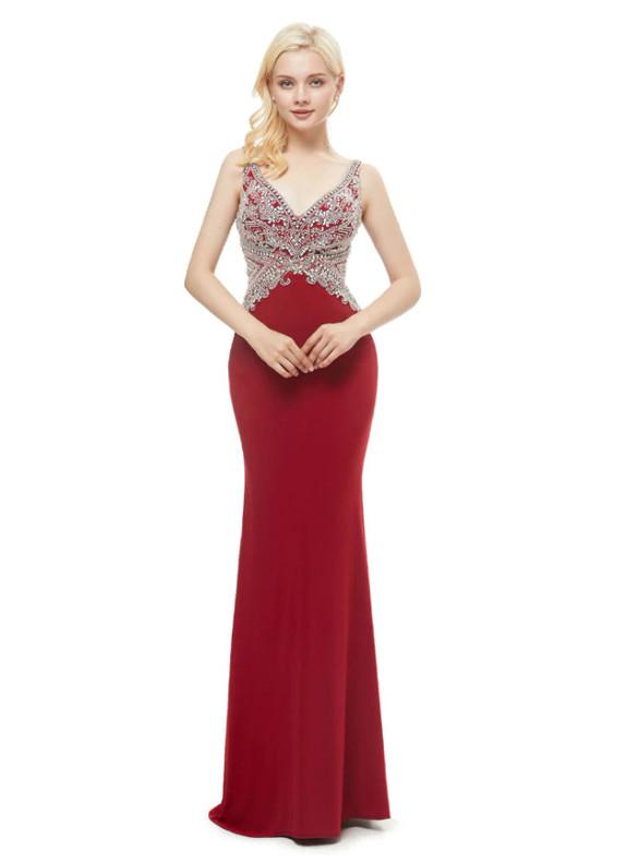 Burgundy Mermaid V-neck Open Back Beading Prom Dress