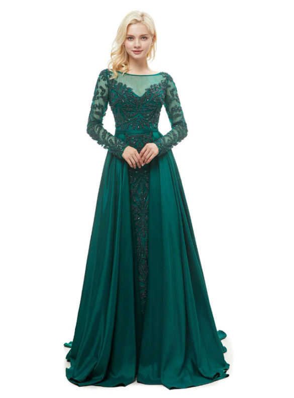Dark Green Satin Long Sleeve Beading Prom Dress