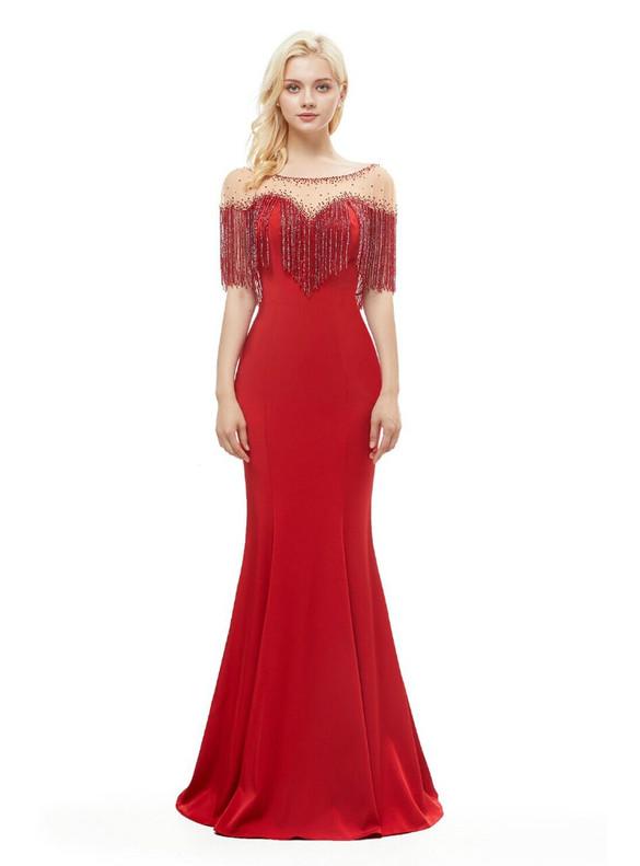 Red Mermaid Satin Tassel Beading Prom Dress
