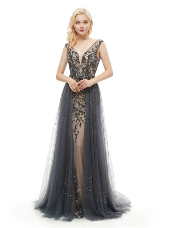 Sexy Dark Gray Tullr Backless Beading Prom Dress