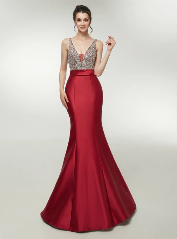 Burgundy Mermaid Satin V-neck Backless Beading Prom Dress