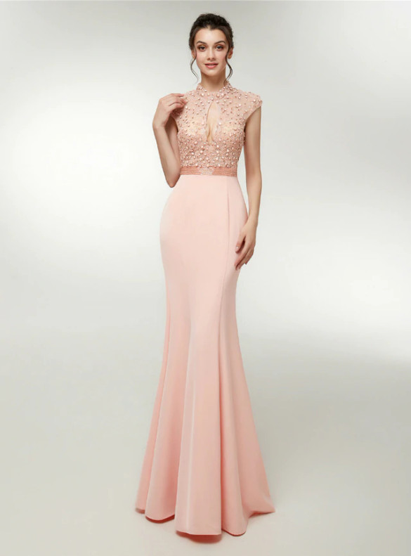 Sexy Pink Satin Cut Out Backless Beading Prom Dress