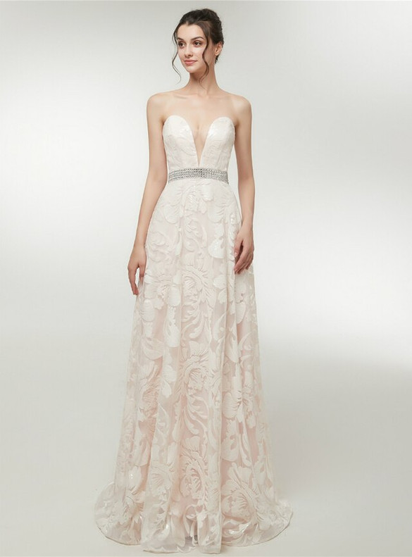 Champagne Sequins Strapless Beading Prom Dress