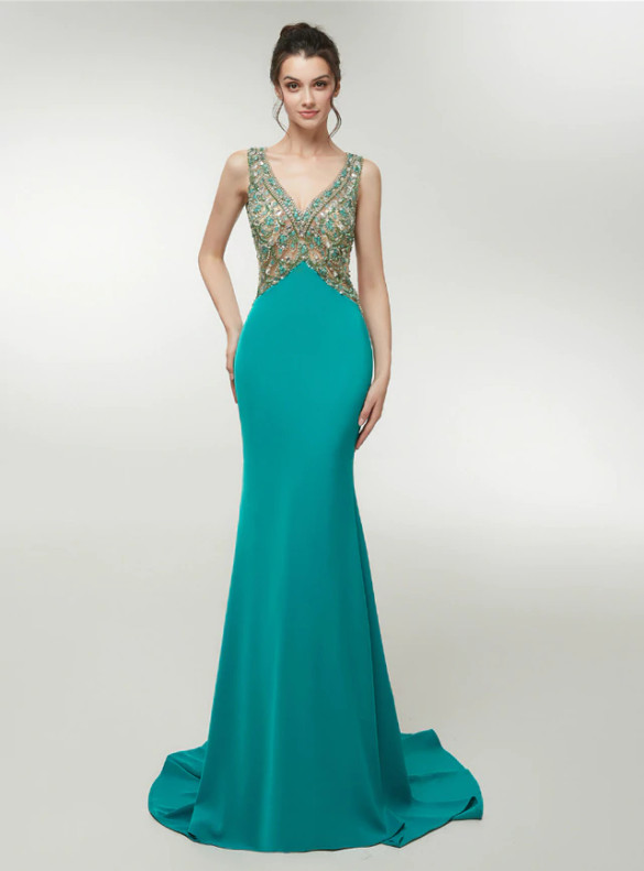 Green Mermaid Satin V-neck Backless Beading Prom Dress