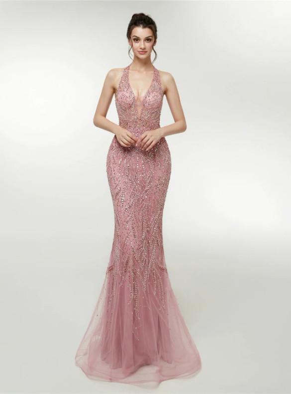 Pink Mermaid V-neck Beading Sequins Prom Dress