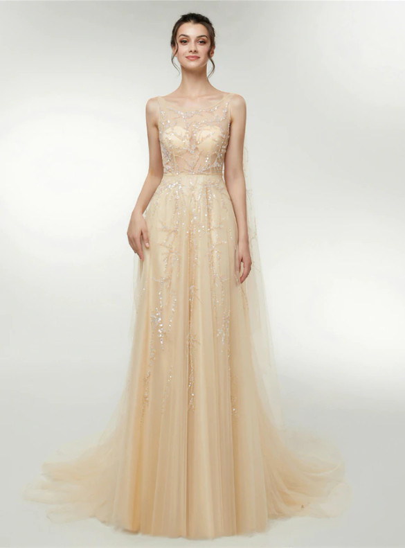 Champagne Tulle Sequins Illusion Prom Dress