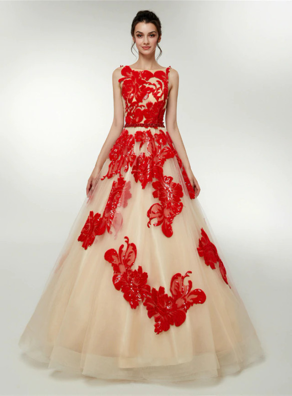 Champagne Tulle Red Sequins Prom Dress