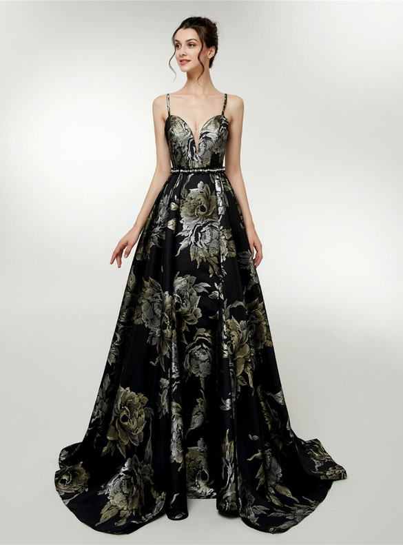 Black Satin Print Spaghetti Straps Prom Dress