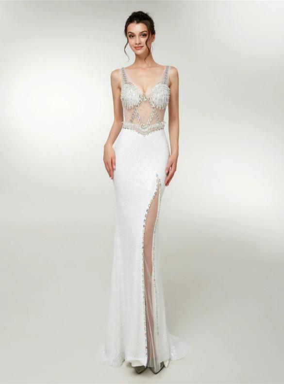 Sexy White Mermaid Sequins V-neck Prom Dress