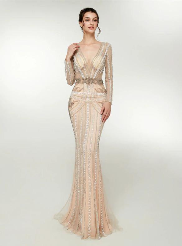 Mermaid Tulle V-neck Long Sleeve Beading Prom Dress