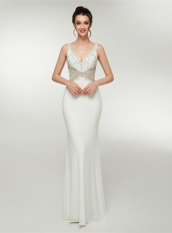 White Mermaid Satin V-neck Beading Prom Dress