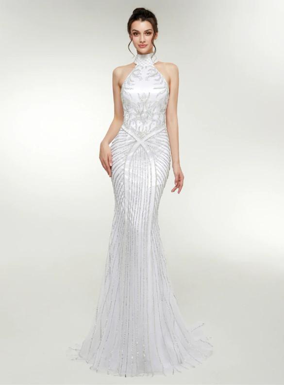 White Mermaid Beading Sequins Prom Dress