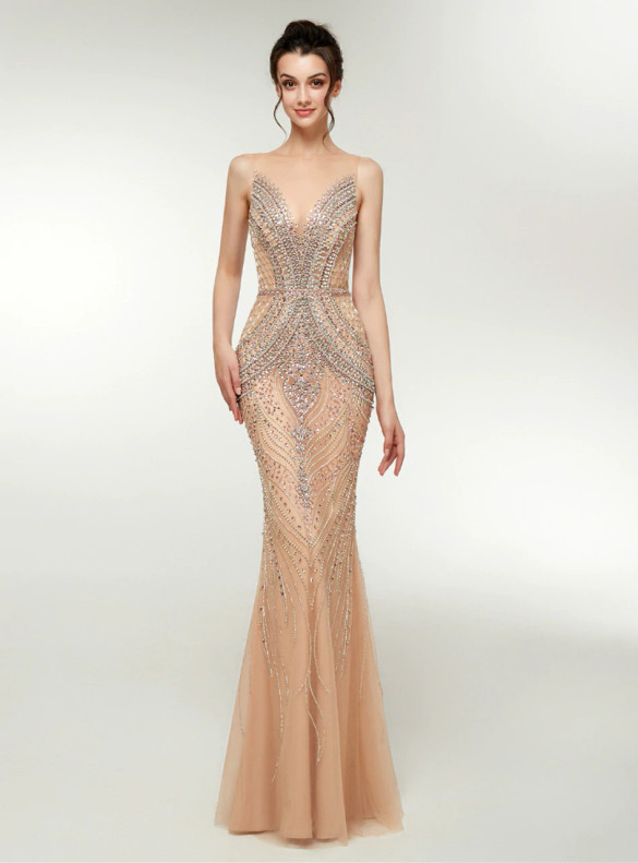 Gold Mermaid Tulle See Through Crystal Prom Dress