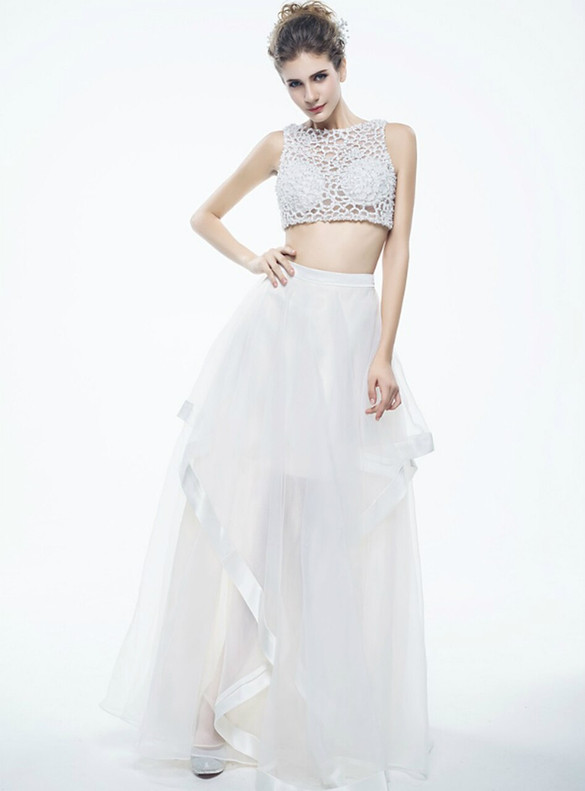 White Tulle Two Piece Beading Prom Dress