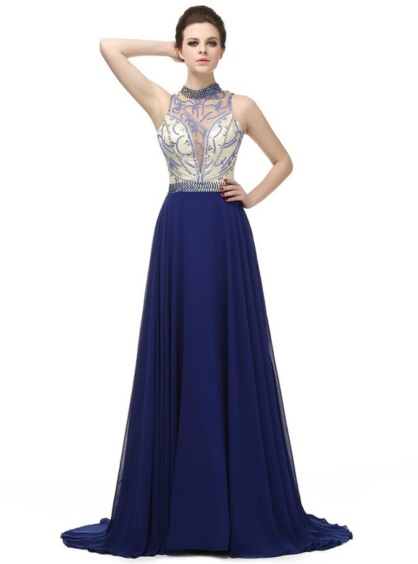 A-Line Blue Chiffon Illusion Beading Prom Dress