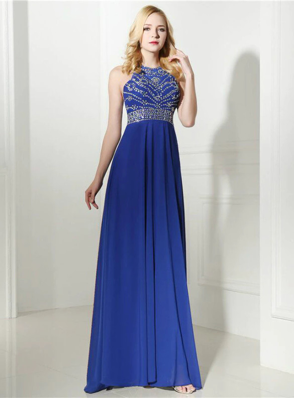 Royal Blue Chiffon Backless Beading Crystal Prom Dress