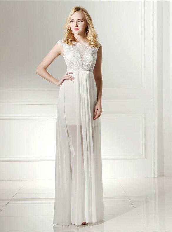 Sexy White Chiffon Lace Cap Sleeve Prom Dress