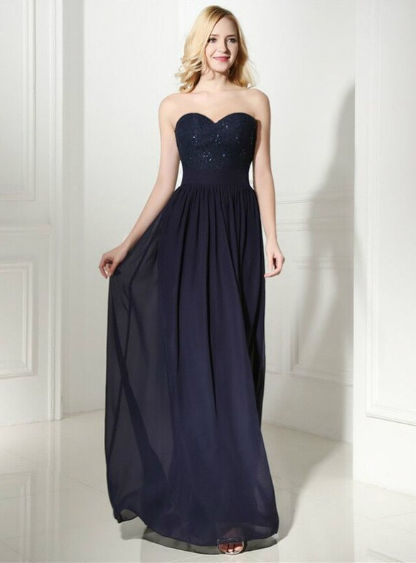 Navy Blue Chiffon Lace Sweetheart Prom Dress