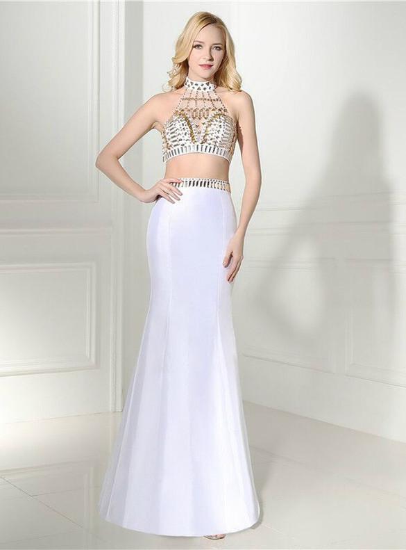 White Mermaid Satin Crystal Beading Prom Dress