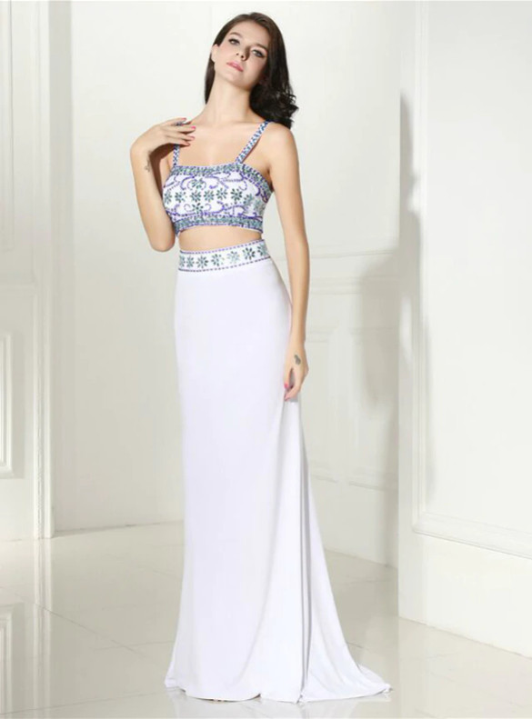 White Mermaid Two Piece Beading Prom Dress