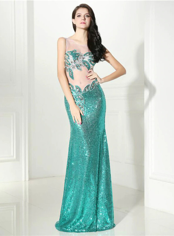 Green Sequins Crystal Beaidng Illusion Prom Dress