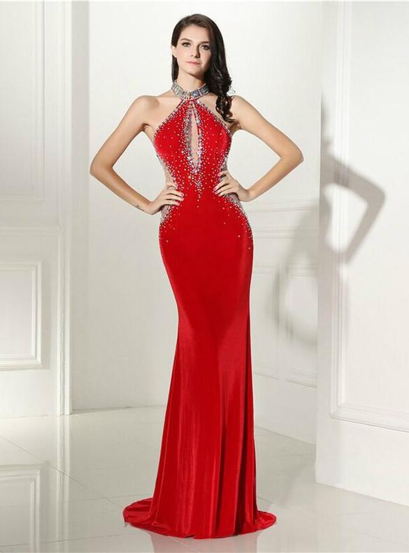 Red Mermaid Velvet Crystal Illusion Prom Dress