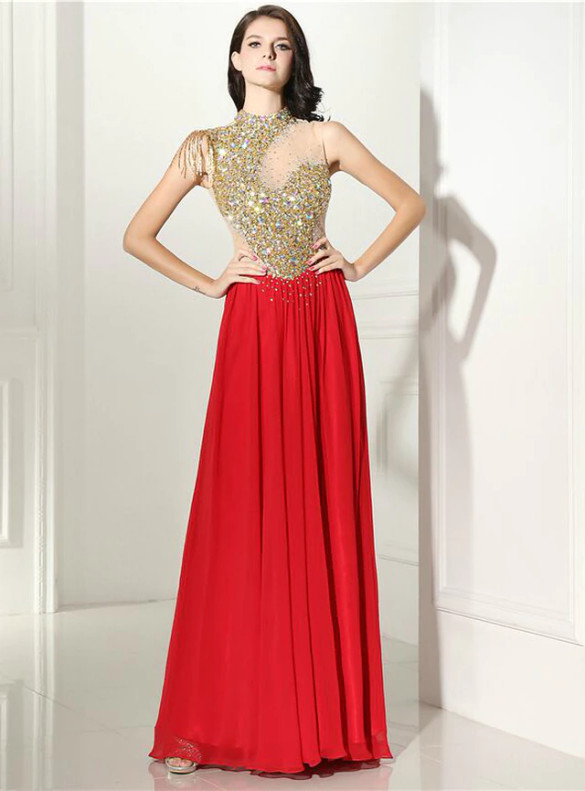 Red Chiffon High Neck Crystal Sequins Prom Dress