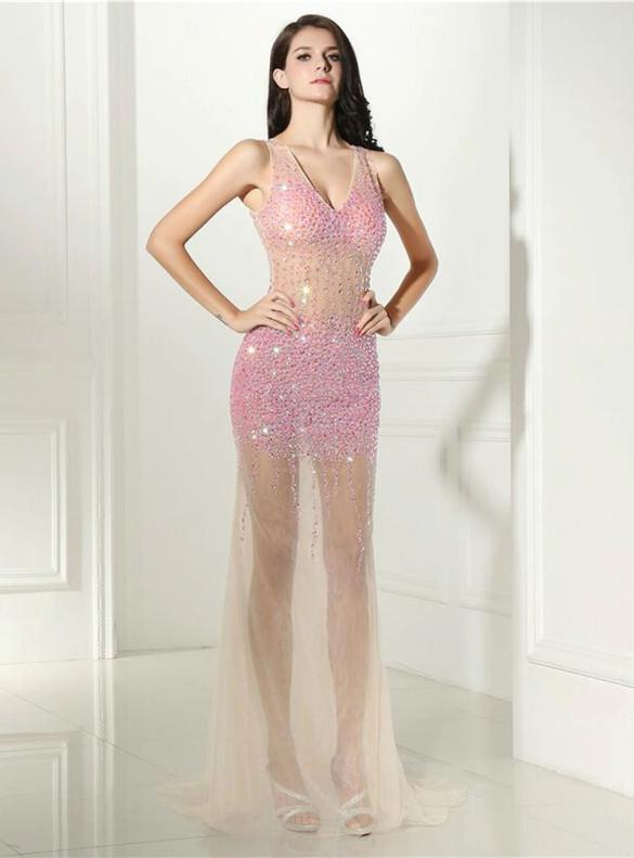 Luxury Pink Beading Crystal V-neck Prom Dress